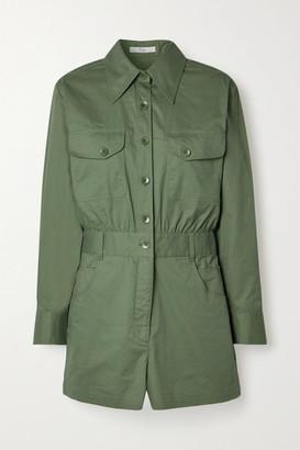 Tibi Cotton-twill Playsuit - Army green