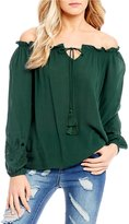 C & V Chelsea & Violet Off-The-Shoulder Embroidered Sleeve Blouse