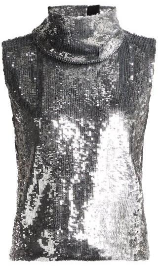 Halpern Sequinned Roll-neck Top - Womens - Silver