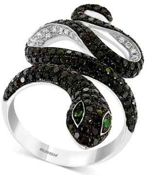 Effy Diamond (1-5/8 ct. t.w.) & Emerald Accent Snake Ring in 14k White Gold