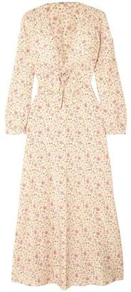 Miu Miu Bow-detailed Floral-print Silk Crepe De Chine Maxi Dress