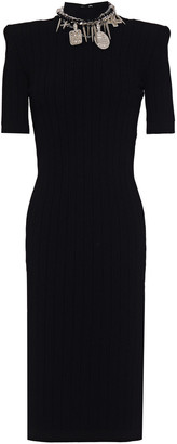 Balmain Cutout Embellished Ribbed-knit Dress