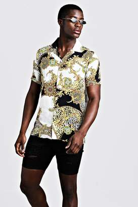 boohoo Baroque Print Short Sleeve Revere Shirt