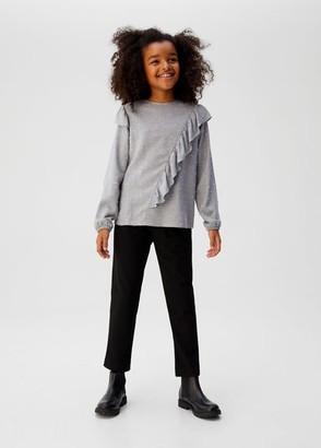 MANGO Ruffle metallic thread blouse medium heather grey - 5 - Kids