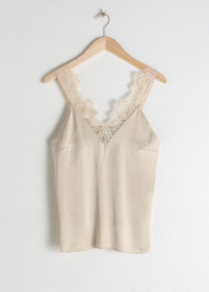 And other stories Satin Lace Slip Tank Top