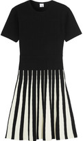 Iris and Ink Alice Pleated Two-Tone Ribbed-Knit Dress