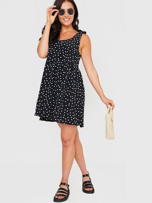 In The Style XJac JossaPolka Dot Tie Shoulder Trapeze Dress - Black