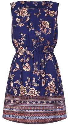 Yumi Floral Border Print Skater Dress