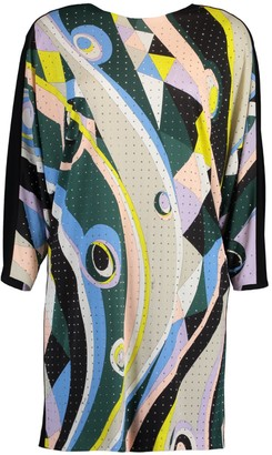 Emilio Pucci Verde Long Sleeve Studded Printed Dress