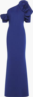 Badgley Mischka Off-the-shoulder Floral-appliqued Scuba Gown