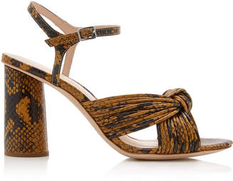 Loeffler Randall Cece Knotted Snake-Effect Leather Sandals Size: 7