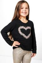 Boohoo Girls Floral Heart Print Sweat Top