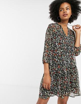 Only abstract animal print smock dress