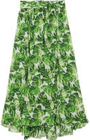 Caroline Constas Hera Printed Cotton And Silk-blend Voile Skirt - Green