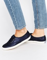 Keds Champion Navy Metallic Leather Plimsoll Trainers