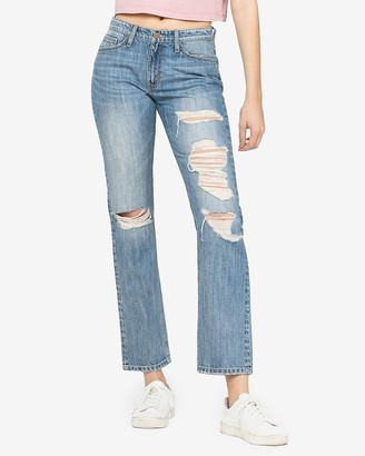 Express Flying Monkey Mid Rise Distressed Straight Cropped Jeans