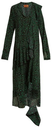 Colville - Floral-print Silk Dress - Womens - Green Print
