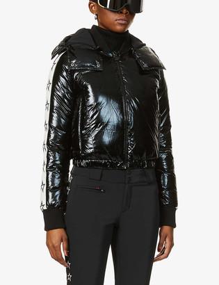 Perfect Moment Star-print detachable-hood shell-down jacket