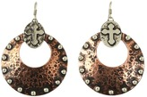Gypsy SOULE Silver and Copper Antiqued Cross Hoop Earrings (Silver/Copper) - Jewelry