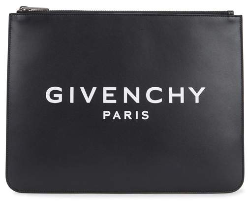 Givenchy Black Logo-print Leather Pouch
