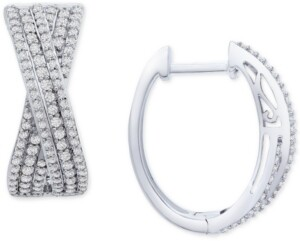 Wrapped in Love Diamond Crossover Oval Hoop Earrings (1 ct. t.w.) in Sterling Silver, Created for Macy's