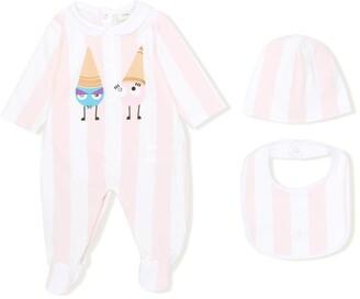 Fendi Kids Monsters Print Striped Pyjamas