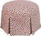 Skyline Furniture Liza Skirted Ottoman, Pink Polka Dots
