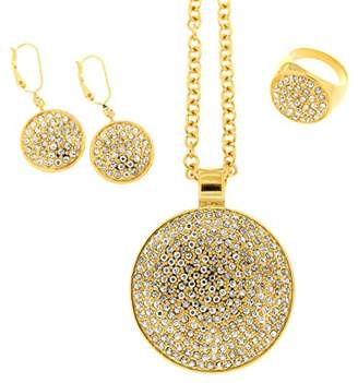 Jean Pierre Ladies 'Jewellery Set Including Necklace and Earrings and Ring Pave Jewellery Set with Swarovski Brass Synthetic Diamond White Round HESET6095 GP 21