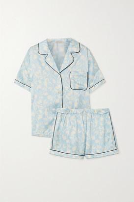 Morgan Lane Katelyn Fiona Floral-print Satin Pajama Set - Sky blue