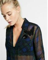 Express slim embellished sheer plaid portofino shirt