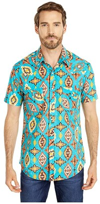 Rock and Roll Cowboy Print Short Sleeve Snap B1S4076 (Teal) Men's Clothing