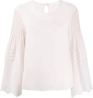 See by Chloe Pleated Long-Sleeve Blouse