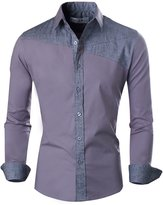 Tom's Ware Mens Basic Slim Fit Two-tone Color Retro Long sleeve Shirt TWKS07-( ASIAN XXXL)