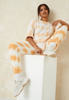 Missguided Tall Camel Tie Dye Oversized T Shirt And Joggers Co Ord Set