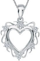 "Direct-Jewelry 14K Gold Diamond Heart Pendant with 18"" Chain"