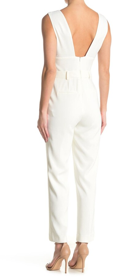 Reiss Lina Plunge Tapered Jumpsuit