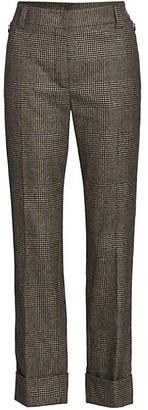 Akris Maxima Prince De Galles Check Wool Cropped Pants