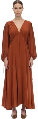 The Row V Neck Compact Crepe Maxi Dress