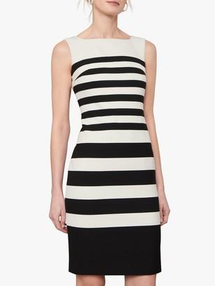 Jaeger Mono Stripe Sleeveless Shift Dress, Black/White