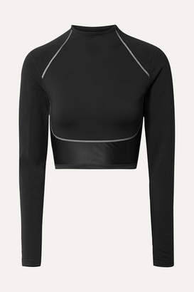 Nike City Ready Cropped Paneled Neoprene And Stretch Top - Black