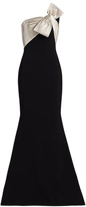 Theia Metallic Twist-Bow Mermaid Gown
