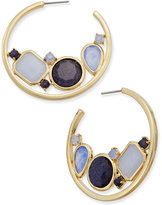Kate Spade Gold-Tone Blue Stone Hoop Earrings