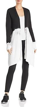 Blanc Noir Dip-Dye Long Cardigan