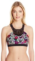 Jessica Simpson Women's It Girl High-Neck Lace Bikini Top