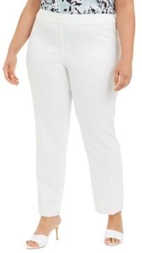 Nine West Plus Size Pinstriped Straight-Leg Dress Pants