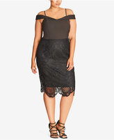 City Chic Trendy Plus Size Lace Off-The-Shoulder Dress
