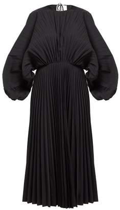 Valentino Pleated Cotton Twill Dress - Womens - Black