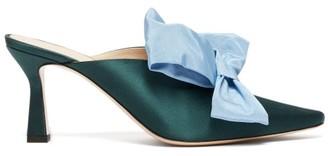 Wandler Lotte Bow-trim Satin Mules - Womens - Green Multi