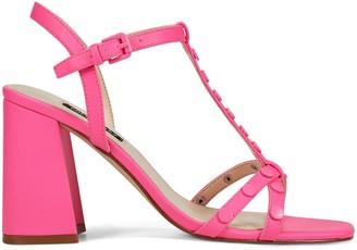 Nine West Studded Block Heel Sandals - Glimmer