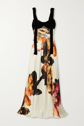 Costarellos Dahlia Tie-detailed Cutout Velvet And Floral-print Satin Gown - Orange